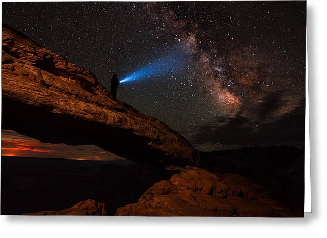 Night Photography Workshop Greeting Cards - Milky Way Madness At Mesa Arch Greeting Card by Mike Berenson