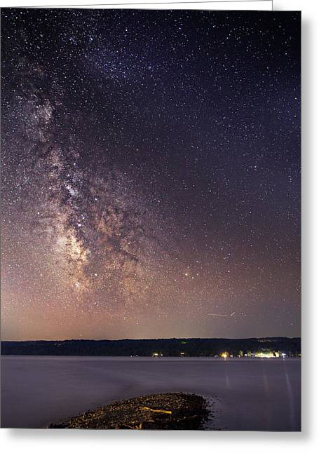 Star Valley Greeting Cards - Milky way on Cayuga Lake Ithaca New York Greeting Card by Paul Ge
