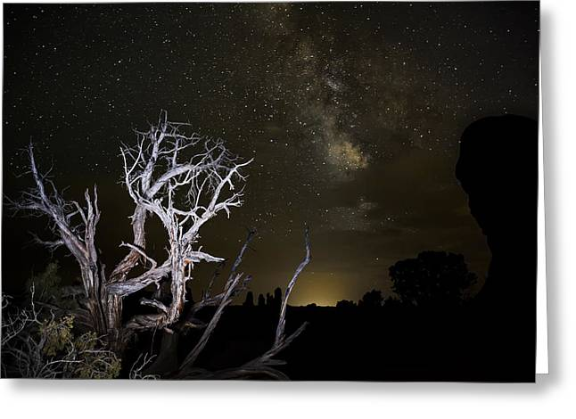 Milky Way over Arches National Park Greeting Card by Adam Romanowicz