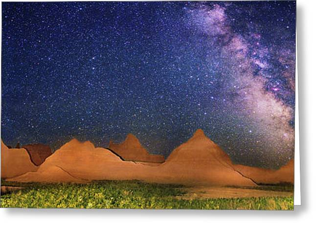 Milky Way Over Badlands National Park Greeting Card by Walter Pacholka, Astropics