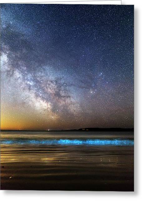 Milky Way Over Bioluminescent Plankton Greeting Card by Laurent Laveder