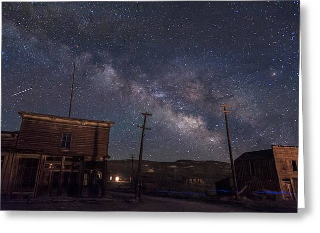 Bodie Greeting Cards - Milky Way over Bodie Hotels Greeting Card by Cat Connor