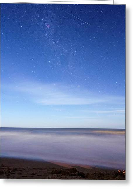 Milky Way Over Coastal Waters Greeting Card by Luis Argerich