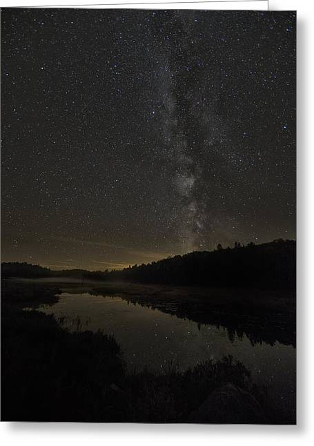 Trees Reflecting In Creek Greeting Cards - Milky Way Over Costello Creek Greeting Card by Robert Postma