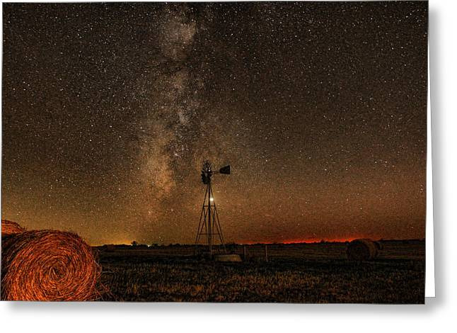 Bale Greeting Cards - Milky Way Over Kansas  Greeting Card by Chris Harris