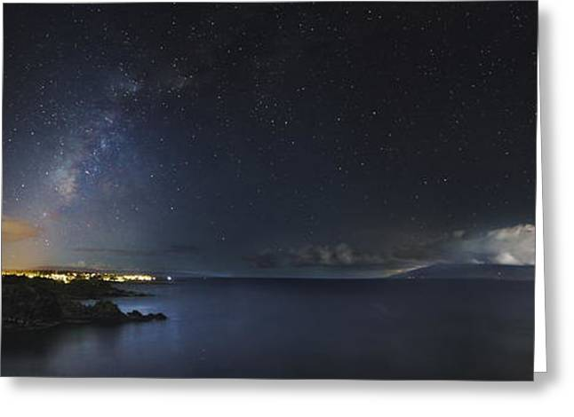 Lahaina Greeting Cards - Milky Way Over Lahaina, Maui, Hawaii Greeting Card by Rogelio Bernal Andreo