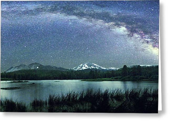 Milky Way Over Manzanita Lake Greeting Card by Walter Pacholka, Astropics