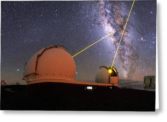 Milky Way Over Mauna Kea Observatories Greeting Card by Babak Tafreshi