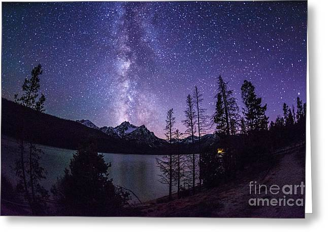 Astro Images Greeting Cards - Milky way over Mc Gowan Peak at Stanley Lake Idaho Greeting Card by Vishwanath Bhat