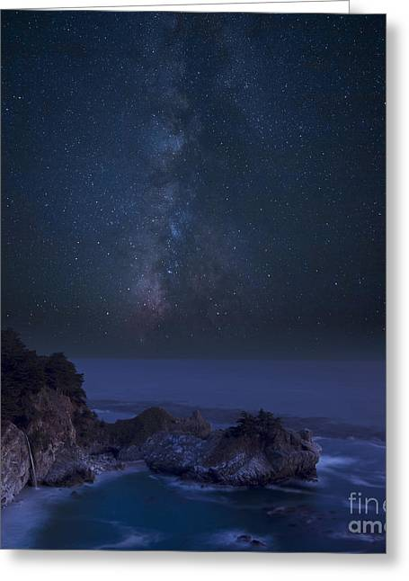 Big Sur Greeting Cards - Milky Way over McWay Falls Greeting Card by Keith Kapple