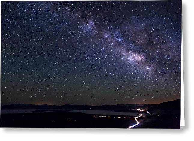 California Lakes Greeting Cards - Milky Way over Mono Lake Greeting Card by Cat Connor