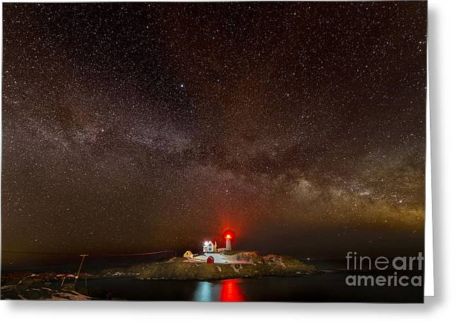 Cape Neddick Lighthouse Greeting Cards - Milky Way over Nubble Light Greeting Card by Jim Block