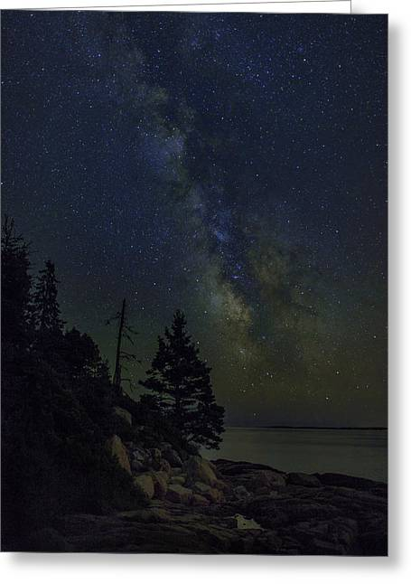 Star Points Greeting Cards - Milky Way Over Otter Point Greeting Card by Rick Berk