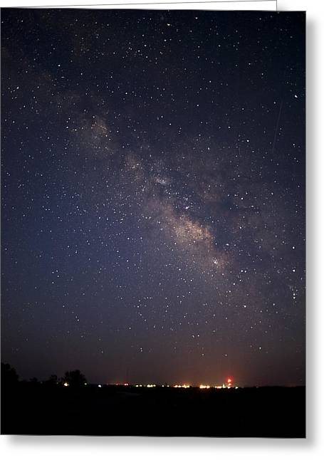 Best Sellers Greeting Cards - Milky Way over Smalltown USA Greeting Card by Melany Sarafis