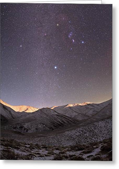 Snowy Night Night Greeting Cards - Milky Way Over Snow-covered Mountains Greeting Card by Babak Tafreshi, Twan