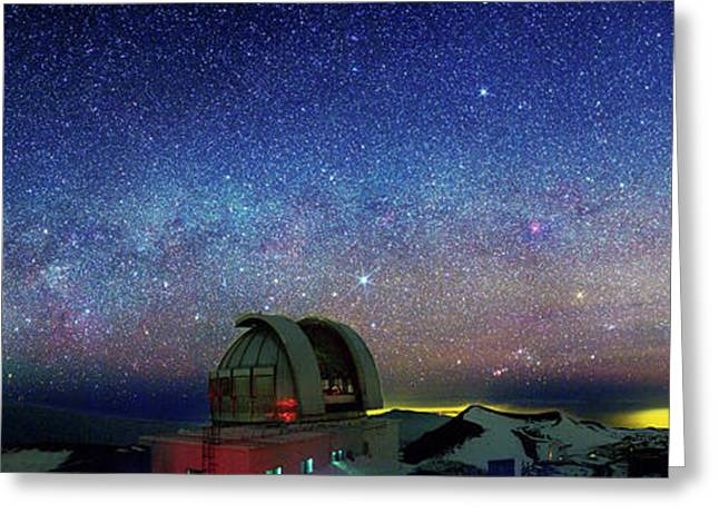 Milky Way Over Telescopes On Hawaii Greeting Card by Walter Pacholka, Astropics