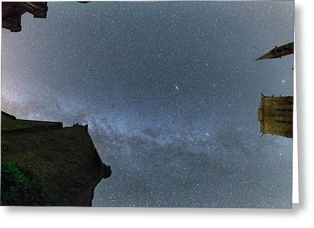 Milky Way Over Town Greeting Card by Laurent Laveder