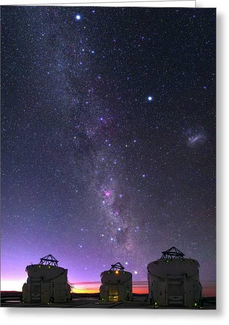 Milky Way Over Vlt Telescopes Greeting Card by Babak Tafreshi