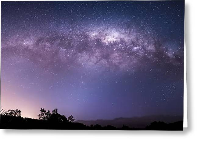 Stars Pyrography Greeting Cards - Milky way over Wairarapa  Greeting Card by Henry Sinclair