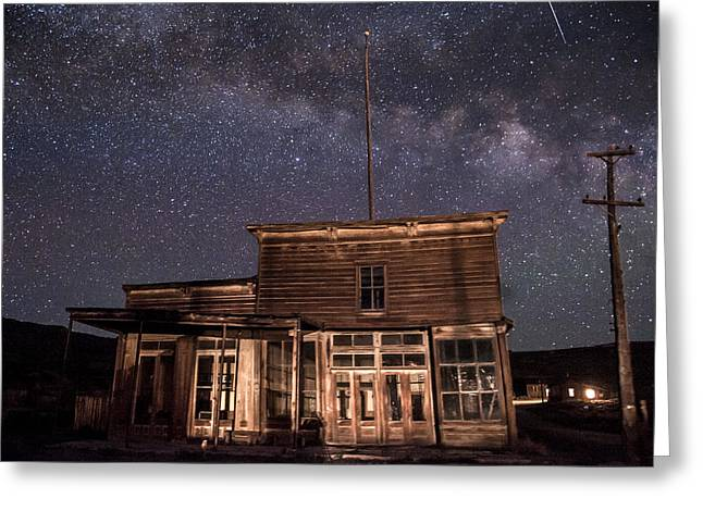 Bodie Greeting Cards - Milky Way over  Wheaton and Hollis Hotel Greeting Card by Cat Connor