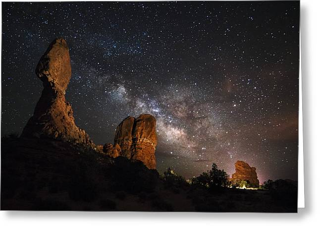 Light Pollution Greeting Cards - Milky Way Suspension At Balanced Rock Greeting Card by Mike Berenson