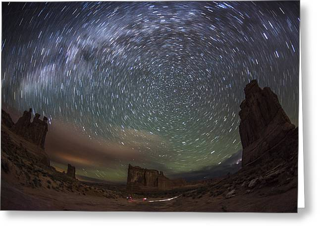 Colorado Captures Greeting Cards - Milky Way Swirls Over Arches Park Avenue Greeting Card by Mike Berenson