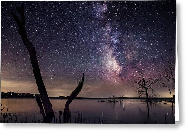 Light Pollution Greeting Cards - Milky Way Tree Greeting Card by Aaron J Groen