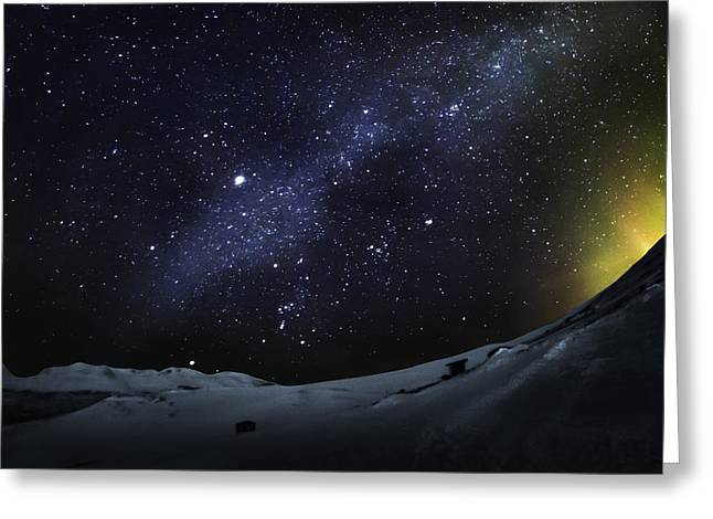 Temperature Greeting Cards - Milky Way With Aurora Borealis Or Greeting Card by Panoramic Images