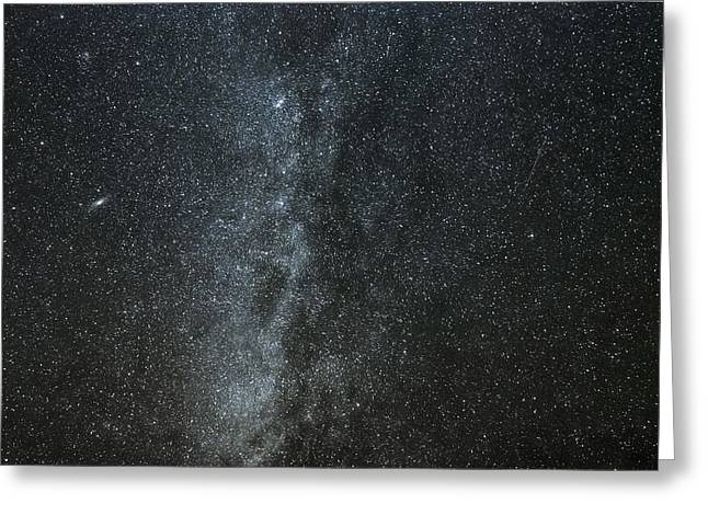 Geminids Greeting Cards - Milky Way with Gemind Meteor Greeting Card by Darryl Luscombe