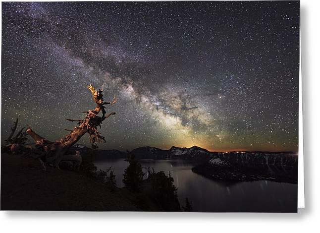 Crater Lake Twilight Greeting Cards - Milkyway in Crater Lake Greeting Card by Yoshiki Nakamura
