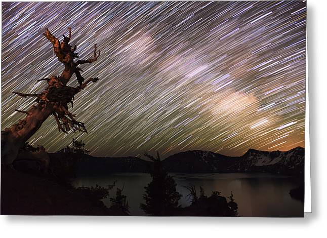 Crater Lake Twilight Greeting Cards - Milkyway Greeting Card by Yoshiki Nakamura