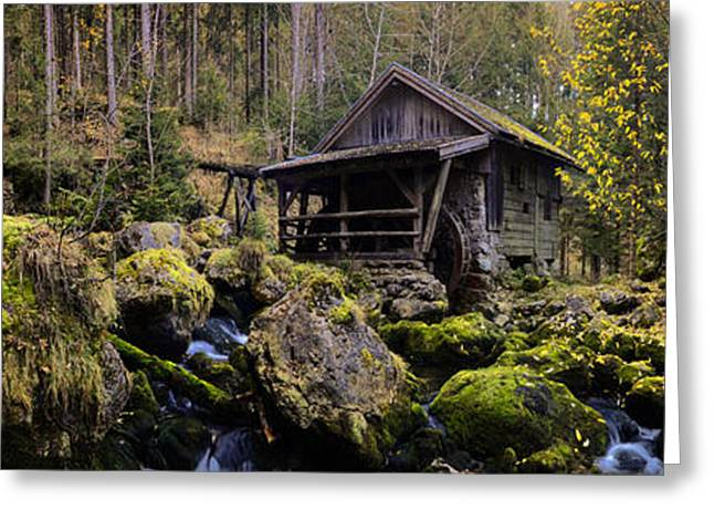 Water Flowing Greeting Cards - Mill at a Brook Panorama Greeting Card by Sabine Jacobs