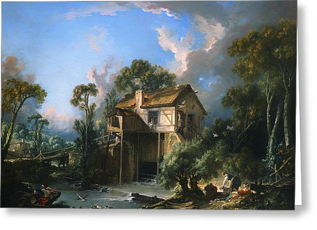 Wooden Building Paintings Greeting Cards - Mill at Charenton Greeting Card by Francois Boucher