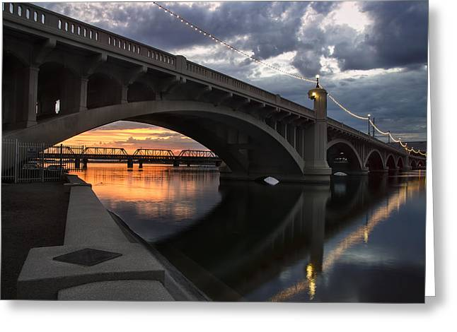 Clouds Greeting Cards - Mill Avenue Bridge Reflections Sunset Greeting Card by Dave Dilli