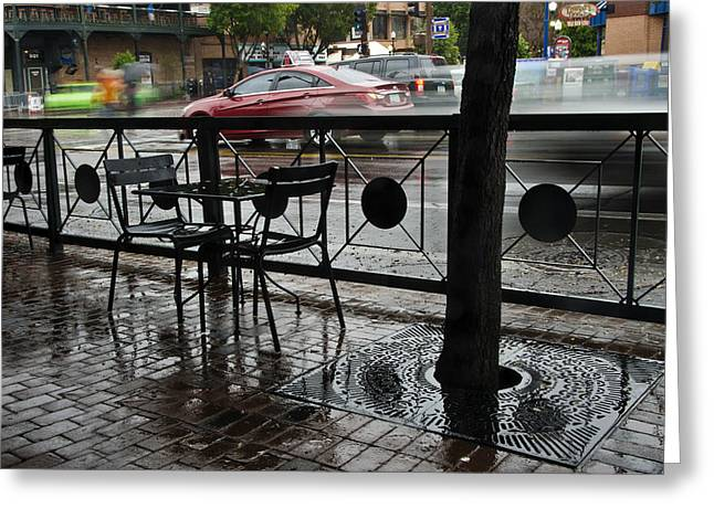 Watery Greeting Cards - Mill Avenue Rain in Tempe Arizona Greeting Card by Dave Dilli