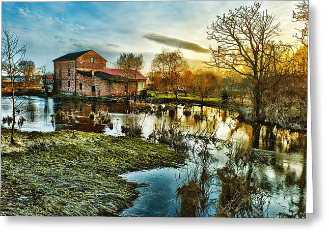 Stream Digital Art Greeting Cards - Mill by the river Greeting Card by Jaroslaw Grudzinski