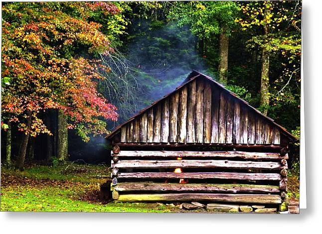 Gatlinburg Tennessee Greeting Cards - Mill Cabin of Blacksmith  Greeting Card by Nian Chen