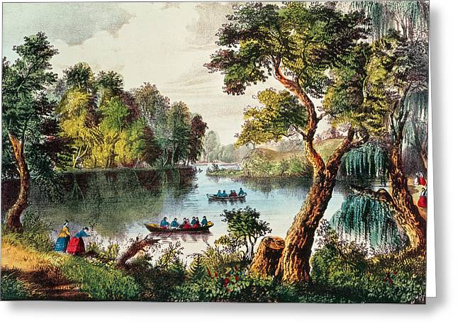 Nathaniel Greeting Cards - Mill Cove Lake Greeting Card by Currier and Ives