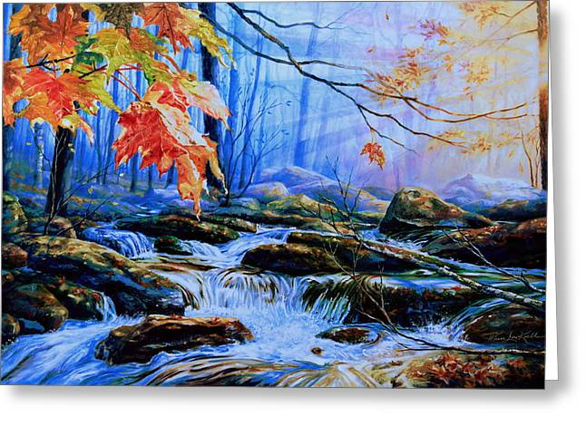 Fall Scenes Greeting Cards - Mill Creek Autumn Sunrise Greeting Card by Hanne Lore Koehler