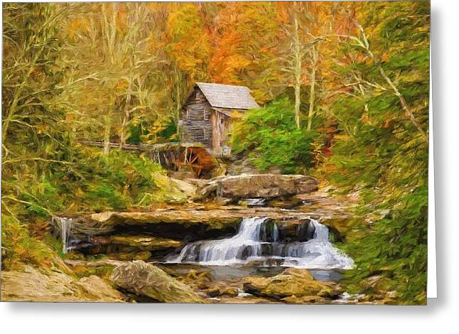 Grist Mill Mixed Media Greeting Cards - Mill on the stream Greeting Card by Garland Johnson