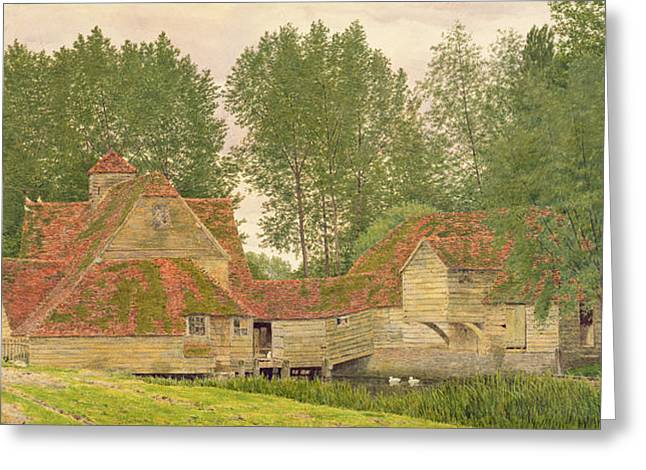 Doves Greeting Cards - Mill On The Thames At Mapledurham, 1860 Greeting Card by George Price Boyce