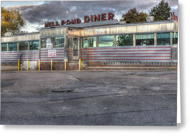 Greasy Greeting Cards - Mill Pond Diner Greeting Card by Andrew Pacheco