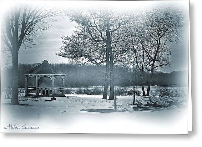 Mill Pond In Winter Greeting Card by Mikki Cucuzzo