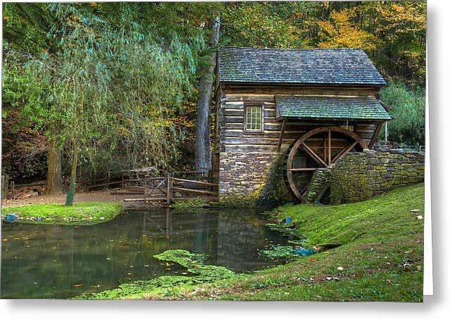 Old Mills Photographs Greeting Cards - Mill Pond in Woods Greeting Card by William Jobes