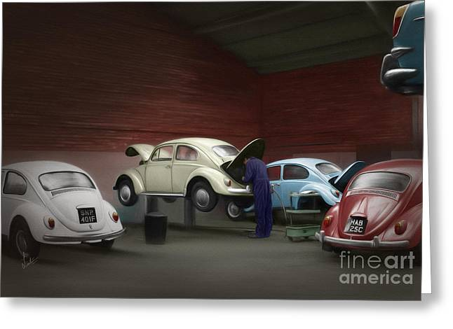 Vintage Greeting Cards - Mill Street Garage - 1968 Greeting Card by Linton Hart