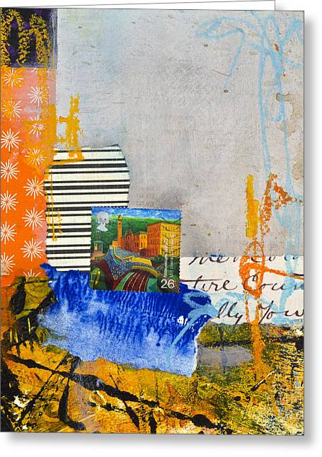 Postal Mixed Media Greeting Cards - Mill town Greeting Card by Elena Nosyreva
