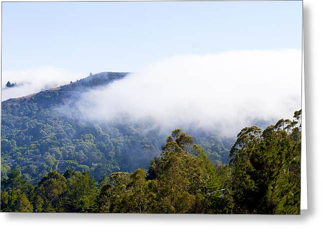 Marin County Greeting Cards - Mill Valley CA Hills with Fog coming in Right Panel Greeting Card by Glen Laughton