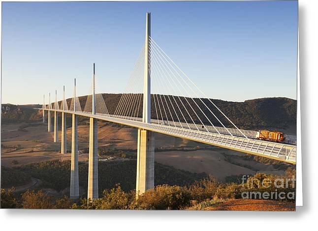 Midi Greeting Cards - Millau Viaduct at Sunrise Midi Pyrenees France Greeting Card by Colin and Linda McKie