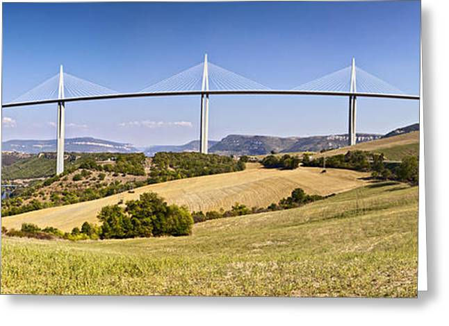 Midi Greeting Cards - Millau Viaduct Panorama Midi Pyrenees France Greeting Card by Colin and Linda McKie