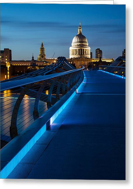 New Britain Greeting Cards - Millenium Bridge Blue Hour I Greeting Card by Adam Pender